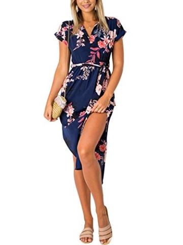 YOINS Damen Sommerkleid Lang V-Ausschnitt Maxikleider Strandkleid Strandmode, Dunkelblau, Gr.- EU 40-42/ Herstellergröße- M - 1