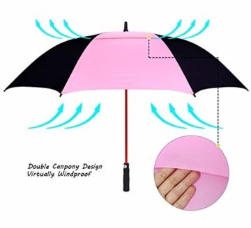 ZOMAKE 157cm Automatische Öffnen Golf Schirme Extra große Übergroß Doppelt Überdachung Belüftet Winddicht wasserdichte Stock Regenschirme (Schwarz/Rosa) - 2