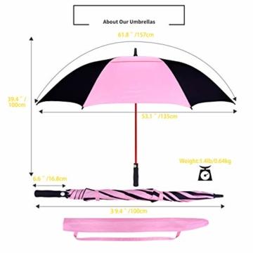 ZOMAKE 157cm Automatische Öffnen Golf Schirme Extra große Übergroß Doppelt Überdachung Belüftet Winddicht wasserdichte Stock Regenschirme (Schwarz/Rosa) - 3