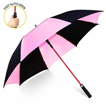 ZOMAKE 157cm Automatische Öffnen Golf Schirme Extra große Übergroß Doppelt Überdachung Belüftet Winddicht wasserdichte Stock Regenschirme (Schwarz/Rosa) - 1