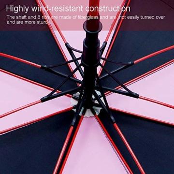 ZOMAKE 157cm Automatische Öffnen Golf Schirme Extra große Übergroß Doppelt Überdachung Belüftet Winddicht wasserdichte Stock Regenschirme (Schwarz/Rosa) - 5