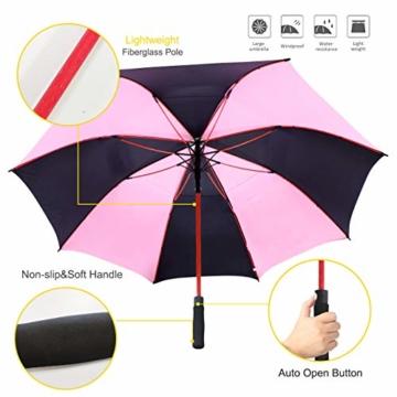 ZOMAKE 157cm Automatische Öffnen Golf Schirme Extra große Übergroß Doppelt Überdachung Belüftet Winddicht wasserdichte Stock Regenschirme (Schwarz/Rosa) - 6
