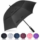 ZOMAKE Automatisches Öffnen Golf Regenschirm 172,7 cm Oversize Extra Groß Double Canopy belüftet Winddicht wasserdicht Stick Schirme(Schwarz) - 1