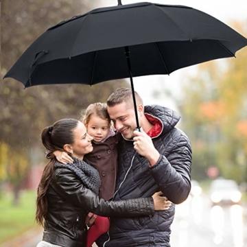 ZOMAKE Automatisches Öffnen Golf Regenschirm 172,7 cm Oversize Extra Groß Double Canopy belüftet Winddicht wasserdicht Stick Schirme(Schwarz) - 4