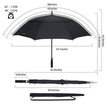 ZOMAKE Automatisches Öffnen Golf Regenschirm 172,7 cm Oversize Extra Groß Double Canopy belüftet Winddicht wasserdicht Stick Schirme(Schwarz) - 5