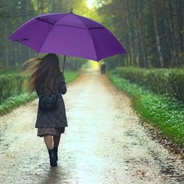 ZOMAKE Golf Regenschirm, Premium Qualität, 157cm Groß, Sturmsicher, Automatik - Automatisch zu öffnen, Regen- und Windresistent Golfschirme(Violett) - 5
