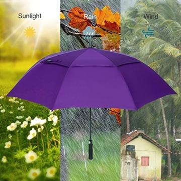 ZOMAKE Golf Regenschirm, Premium Qualität, 157cm Groß, Sturmsicher, Automatik - Automatisch zu öffnen, Regen- und Windresistent Golfschirme(Violett) - 6