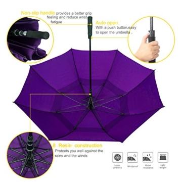 ZOMAKE Golf Regenschirm, Premium Qualität, 157cm Groß, Sturmsicher, Automatik - Automatisch zu öffnen, Regen- und Windresistent Golfschirme(Violett) - 7