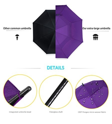 ZOMAKE Golf Regenschirm, Premium Qualität, 157cm Groß, Sturmsicher, Automatik - Automatisch zu öffnen, Regen- und Windresistent Golfschirme(Violett) - 8