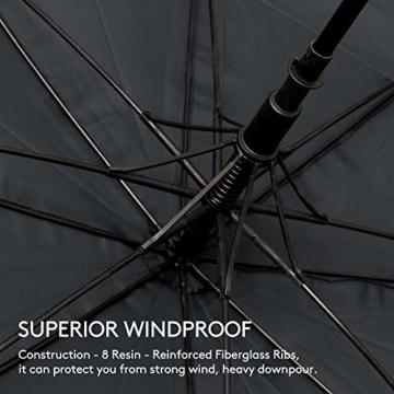 ZOMAKE Golf Regenschirm, Premium Qualität, 157cm Groß, Sturmsicher, Automatik - Automatisch zu öffnen, Regen- und Windresistent Golfschirme(Schwarz) - 3