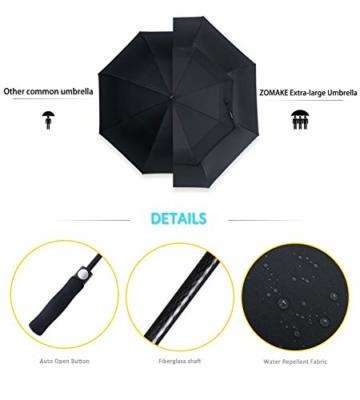 ZOMAKE Golf Regenschirm, Premium Qualität, 157cm Groß, Sturmsicher, Automatik - Automatisch zu öffnen, Regen- und Windresistent Golfschirme(Schwarz) - 4