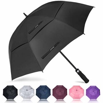 ZOMAKE Golf Regenschirm, Premium Qualität, 157cm Groß, Sturmsicher, Automatik - Automatisch zu öffnen, Regen- und Windresistent Golfschirme(Schwarz) - 1