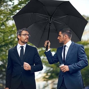 ZOMAKE Golf Regenschirm, Premium Qualität, 157cm Groß, Sturmsicher, Automatik - Automatisch zu öffnen, Regen- und Windresistent Golfschirme(Schwarz) - 6