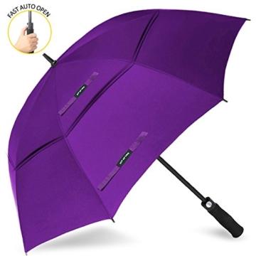 ZOMAKE Golf Regenschirm, Premium Qualität, 157cm Groß, Sturmsicher, Automatik - Automatisch zu öffnen, Regen- und Windresistent Golfschirme(Violett) - 1