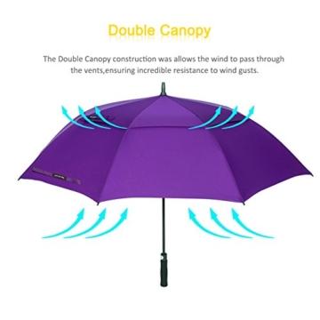 ZOMAKE Golf Regenschirm, Premium Qualität, 157cm Groß, Sturmsicher, Automatik - Automatisch zu öffnen, Regen- und Windresistent Golfschirme(Violett) - 4