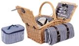 4 Personen Weiden Picknickkorb Picknickkoffer Set mit Decke, Besteck, Wein Gläser, Teller (Braun) - 1