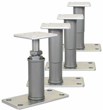 4er Set Stützenfuß Pfostenträger verstellbar mit Platte und verdecktem Anschluss - 1