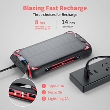 Aikove Wireless Powerbank 10W 30000mAh PD 18W Solar Power Bank, QC 3.0 Externer Akku mit 3 Eingängen und 4 Ausgängen (Qi & USB C), Super Taschenlampe, wasserfeste für Handys, insbesondere für draußen - 2