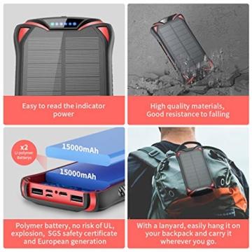 Aikove Wireless Powerbank 10W 30000mAh PD 18W Solar Power Bank, QC 3.0 Externer Akku mit 3 Eingängen und 4 Ausgängen (Qi & USB C), Super Taschenlampe, wasserfeste für Handys, insbesondere für draußen - 3