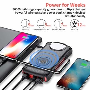 Aikove Wireless Powerbank 10W 30000mAh PD 18W Solar Power Bank, QC 3.0 Externer Akku mit 3 Eingängen und 4 Ausgängen (Qi & USB C), Super Taschenlampe, wasserfeste für Handys, insbesondere für draußen - 4