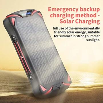 Aikove Wireless Powerbank 10W 30000mAh PD 18W Solar Power Bank, QC 3.0 Externer Akku mit 3 Eingängen und 4 Ausgängen (Qi & USB C), Super Taschenlampe, wasserfeste für Handys, insbesondere für draußen - 5