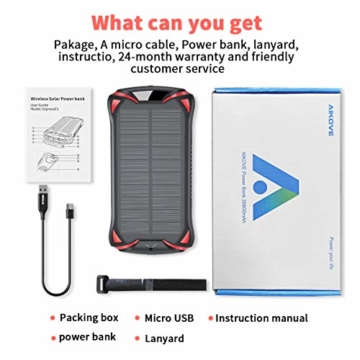 Aikove Wireless Powerbank 10W 30000mAh PD 18W Solar Power Bank, QC 3.0 Externer Akku mit 3 Eingängen und 4 Ausgängen (Qi & USB C), Super Taschenlampe, wasserfeste für Handys, insbesondere für draußen - 6