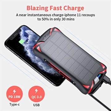 Aikove Wireless Powerbank 10W 30000mAh PD 18W Solar Power Bank, QC 3.0 Externer Akku mit 3 Eingängen und 4 Ausgängen (Qi & USB C), Super Taschenlampe, wasserfeste für Handys, insbesondere für draußen - 7