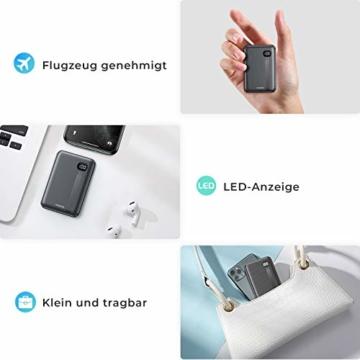 AINOPE Power Bank, eines der kleinsten tragbaren 10000mAh 3A PD QC 3.0 Ladegeräte, 18W Telefonakku mit DREI Ausgängen, [LED-Anzeige] kompatibles iPhone, iPad, Samsung Galaxy usw. - 4