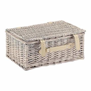 anndora Picknickkorb 4 Personen Weidenkorb Beige mit Zubehör 21 Teilig - 1
