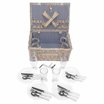anndora Picknickkorb 4 Personen Weidenkorb Beige mit Zubehör 21 Teilig - 3