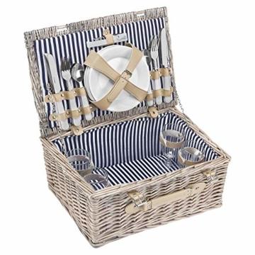 anndora Picknickkorb 4 Personen Weidenkorb Beige mit Zubehör 21 Teilig - 7