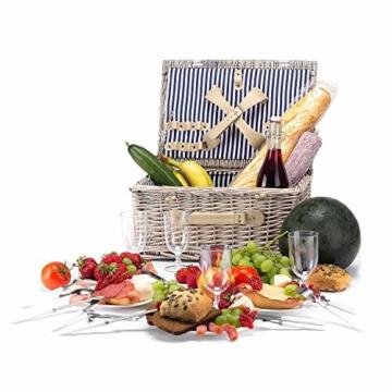 anndora Picknickkorb 4 Personen Weidenkorb Beige mit Zubehör 21 Teilig - 8