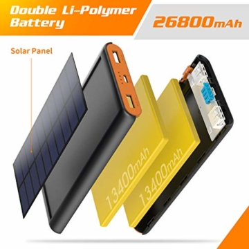 AOPAWA Solar Powerbank 26800mah Neueste Solar Ladegerät Externer Akku Hohe Kapazitat Solarladegerät mit 2 Ports Power Bank Akkupack für Handy, Tablet - 2