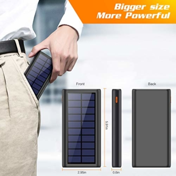 AOPAWA Solar Powerbank 26800mah Neueste Solar Ladegerät Externer Akku Hohe Kapazitat Solarladegerät mit 2 Ports Power Bank Akkupack für Handy, Tablet - 3