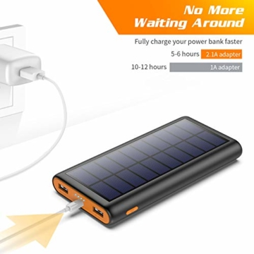 AOPAWA Solar Powerbank 26800mah Neueste Solar Ladegerät Externer Akku Hohe Kapazitat Solarladegerät mit 2 Ports Power Bank Akkupack für Handy, Tablet - 4