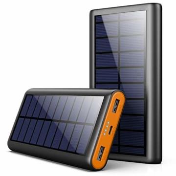 AOPAWA Solar Powerbank 26800mah Neueste Solar Ladegerät Externer Akku Hohe Kapazitat Solarladegerät mit 2 Ports Power Bank Akkupack für Handy, Tablet - 1
