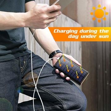 AOPAWA Solar Powerbank 26800mah Neueste Solar Ladegerät Externer Akku Hohe Kapazitat Solarladegerät mit 2 Ports Power Bank Akkupack für Handy, Tablet - 5