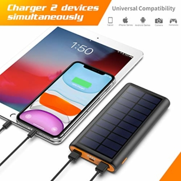 AOPAWA Solar Powerbank 26800mah Neueste Solar Ladegerät Externer Akku Hohe Kapazitat Solarladegerät mit 2 Ports Power Bank Akkupack für Handy, Tablet - 6