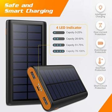 AOPAWA Solar Powerbank 26800mah Neueste Solar Ladegerät Externer Akku Hohe Kapazitat Solarladegerät mit 2 Ports Power Bank Akkupack für Handy, Tablet - 7
