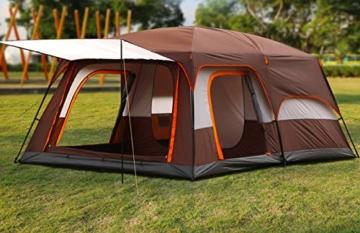 Außenzelt 4-6 Personen-Zelt im Freien Zwei-Zimmer Einer Halle zweischichtige Mehrpersonen Camping Camping-Zelt regendicht Bergsteigen verdickt Zelt (Color : 2) - 4