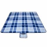Beautissu BellaPa XXL Picknickdecke wasserdicht 200x200 cm Ultraleicht Campingdecke wasserabweisend und isoliert blau-weiß Oeko-Tex Zerifikat - 1