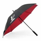 BERKS Golfschirm, großer Regenschirm mit 137 cm, winddicht und regensicher, Regenschirm für Golf, Schwarz-Rot - 1