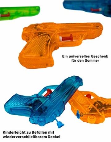 BG Wasserpistole Spielzeug für Kinder - 4 Mini Wasserpistolen mit großer Reichweite für den Strand Urlaub, Pool Partys und Aktivitäten im Freien - Water Gun Spritzpistolen ab 3 Jahren (12cm) - 3