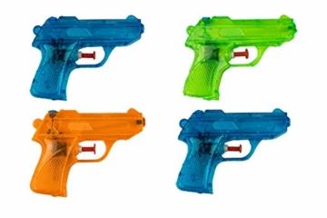 BG Wasserpistole Spielzeug für Kinder - 4 Mini Wasserpistolen mit großer Reichweite für den Strand Urlaub, Pool Partys und Aktivitäten im Freien - Water Gun Spritzpistolen ab 3 Jahren (12cm) - 1