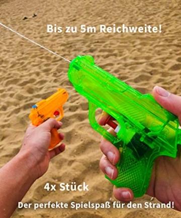 BG Wasserpistole Spielzeug für Kinder - 4 Mini Wasserpistolen mit großer Reichweite für den Strand Urlaub, Pool Partys und Aktivitäten im Freien - Water Gun Spritzpistolen ab 3 Jahren (12cm) - 6