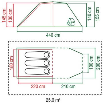 Coleman Chimney Rock 3 Plus Zelt, 3 Personen Tunnelzelt, 3 Mann Camping-Zelt, große abgedunkelte Schlafkabine blockiert bis zu 99% des Tageslichts, wasserdicht WS 4.500 mm - 4