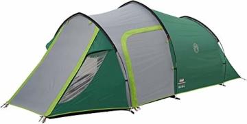 Coleman Chimney Rock 3 Plus Zelt, 3 Personen Tunnelzelt, 3 Mann Camping-Zelt, große abgedunkelte Schlafkabine blockiert bis zu 99% des Tageslichts, wasserdicht WS 4.500 mm - 5