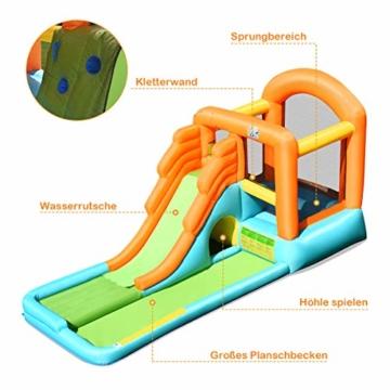 COSTWAY Hüpfburg aufblasbar, Wasserrutsche Spielpool, Springburg mit Rutsche, Wasserpark Planschbecken (490x225x240cm) - 6
