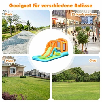 COSTWAY Hüpfburg aufblasbar, Wasserrutsche Spielpool, Springburg mit Rutsche, Wasserpark Planschbecken (490x225x240cm) - 7