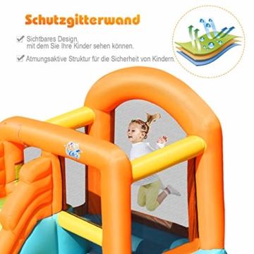 COSTWAY Hüpfburg aufblasbar, Wasserrutsche Spielpool, Springburg mit Rutsche, Wasserpark Planschbecken (490x225x240cm) - 8